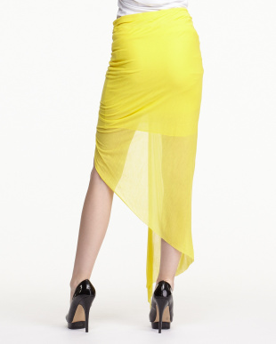 yellow VISCOSE FILM ツイストフロントスカート見る