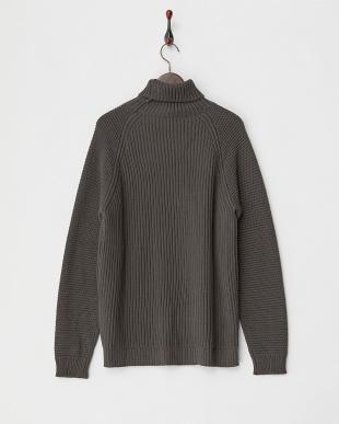 ダークグレー  袖模様編みタートルニット|MEN見る