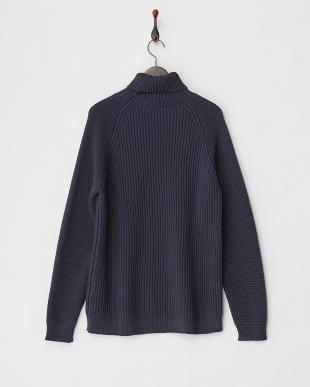ネイビー  袖模様編みタートルニット|MEN見る