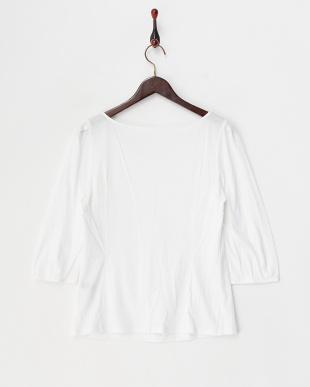 ホワイト  リヨセルコットンギザ天竺胸元ギャザー7分袖Tシャツ見る