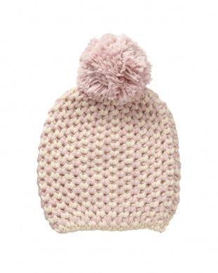 ピンク  ニットポンポン帽子見る