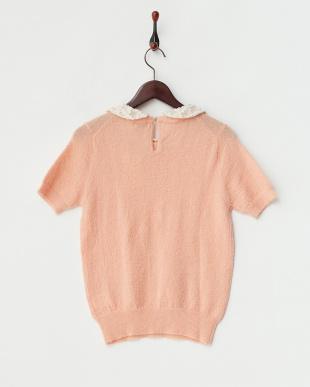 ピンク  衿付き モヘア混ストレッチニットプルオーバー見る