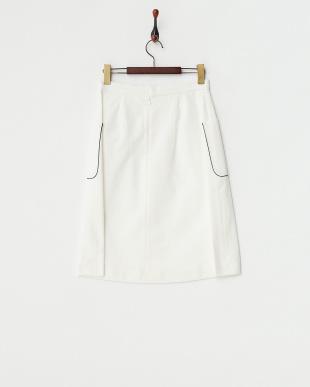 ホワイト  配色パイピングスカート見る