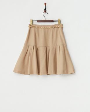 ベージュ ベルト付きウールジョーゼットスカート見る