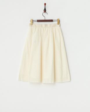 ホワイト シフォンドット刺繍スカート見る