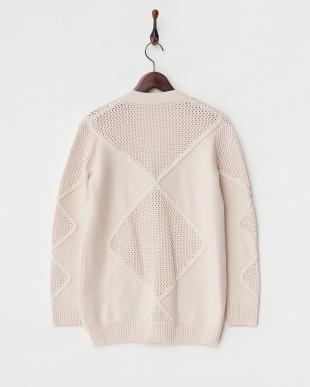 ピンク 透かし編み切り替えニットカーディガン見る