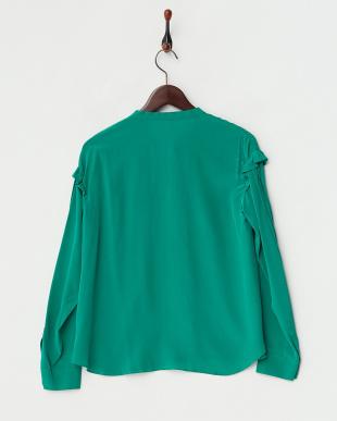 グリーン ボウタイシルクシャツ見る