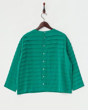 グリーン  タックボーダーシルクシャツ見る