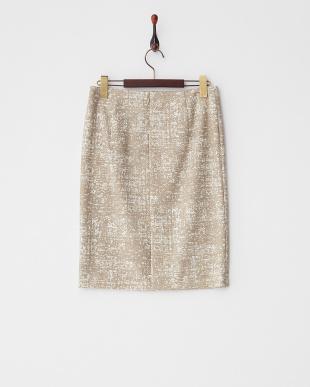 ベージュ  ストレッチプリントスカート見る