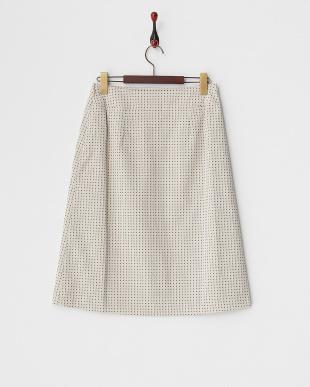 サンドベージュ  ブロック柄ジャガードスカート見る