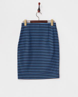 ブルー  ボーダーカットタイトスカート見る