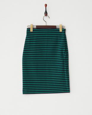 グリーン  ボーダーカットタイトスカート見る