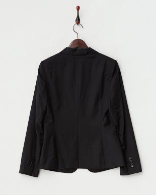 ブラック シルク混1つ釦テーラードジャケット(大きいサイズ)見る