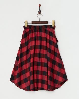 レッド  バッファローチェック腰巻風スカート見る