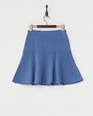 ブルー 切り替えフレアスカート見る