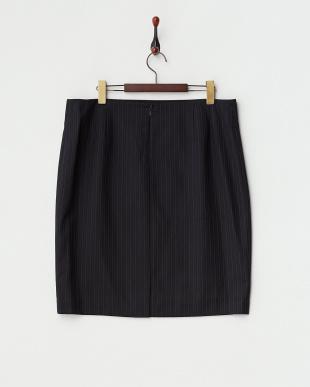 ネイビー ピンストライプタイトスカート(大きいサイズ)見る