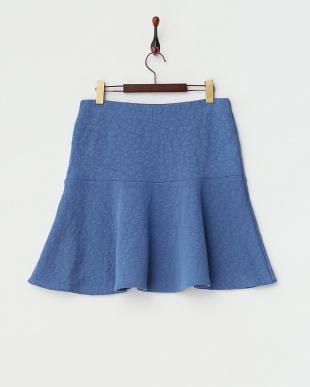 ブルー 切り替えフレアスカート(大きいサイズ)見る