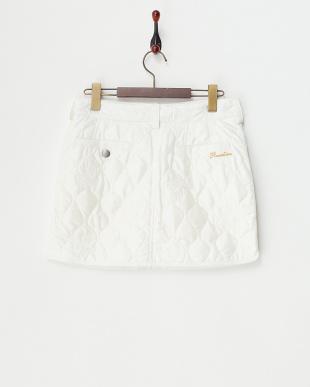 ホワイト  スカルキルティング スカート見る