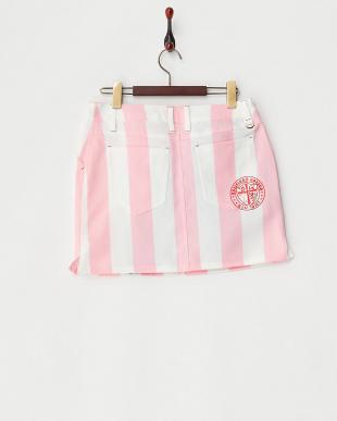 ピンク ビッグストライプ スカート見る