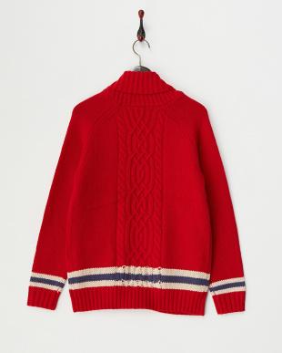 レッド  カレッジカウチンニットセーター見る