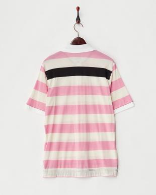 ピンク ワイドボーダーポロシャツ見る