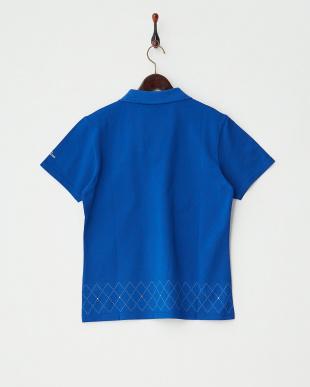 ブルー アーガイルキルトポロシャツ見る