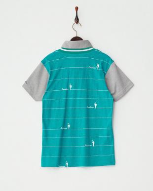 グリーン  ピンボーダーレイヤードポロシャツ見る