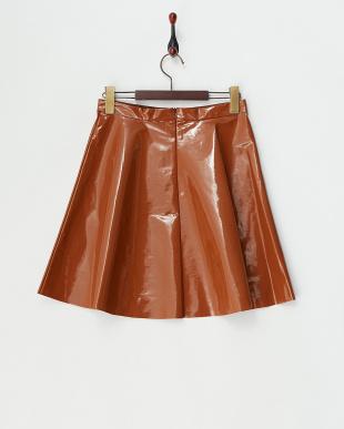 キャメル ポリウレタンコーティングフレアスカート見る