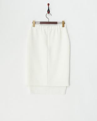 ホワイト  裾メッシュタイトスカート見る