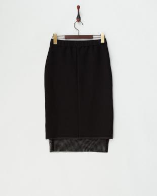 ブラック  裾メッシュタイトスカート見る