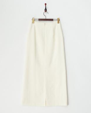 ホワイト ウールカシミヤロングスカート見る