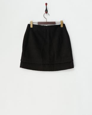 ブラック フリース調台形スカート見る
