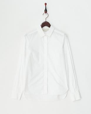 ホワイト 衿切り替え 比翼フロントシャツ見る