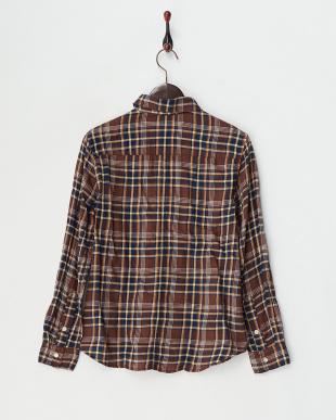 ブラウン チェック柄ワークシャツ見る