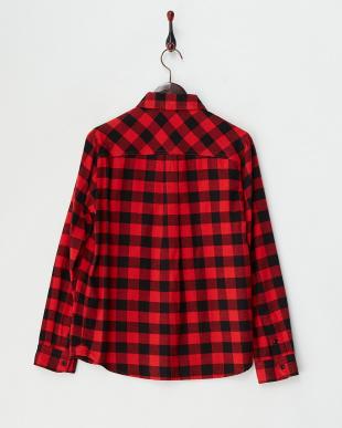 レッド ブロックチェック柄ワークシャツ見る
