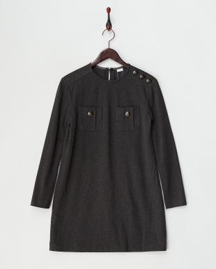 ブラック  2WAY衿つきチュール切り替えワンピース見る