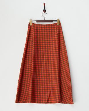 レッド  ウール混シェパードチェック柄スカート見る