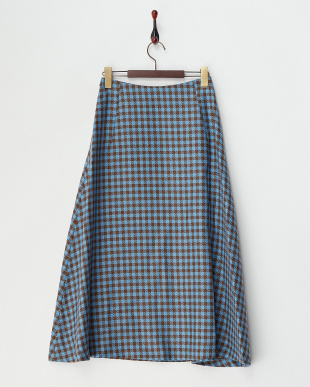 ネイビー  ウール混シェパードチェック柄スカート見る
