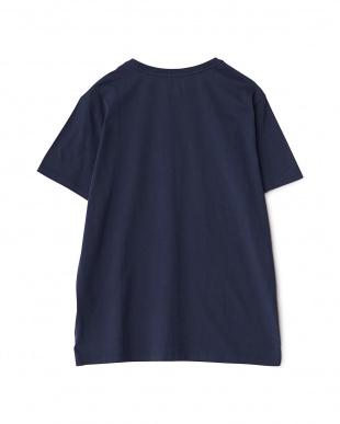 ネイビー  ワンポイント コットンTシャツ見る