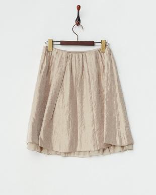 ベージュ  シャイニーツイルスカート見る
