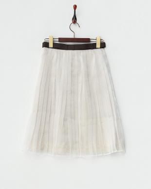 ホワイト  ベルト付き サテン×オーガンジースカート見る