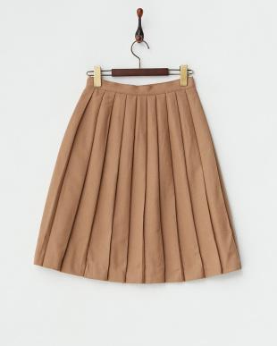キャメル  飾りボタン フランネルプリーツスカート見る