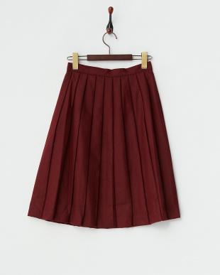 ワイン  飾りボタン フランネルプリーツスカート見る