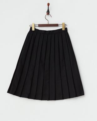 ブラック  飾りボタン フランネルプリーツスカート見る