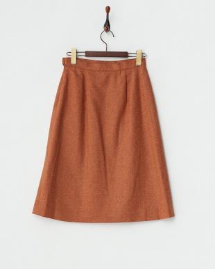 オレンジ  サイドスリット ツイードスカート見る