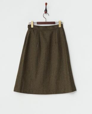 カーキ  サイドスリット ツイードスカート見る