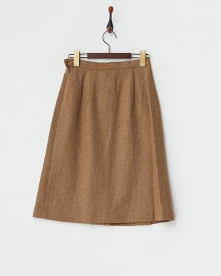 ベージュ  サイドスリット ツイードスカート見る
