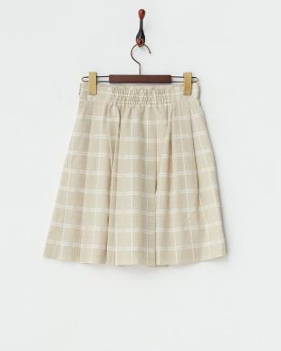 ベージュ  デシンチェックプリントスカート見る