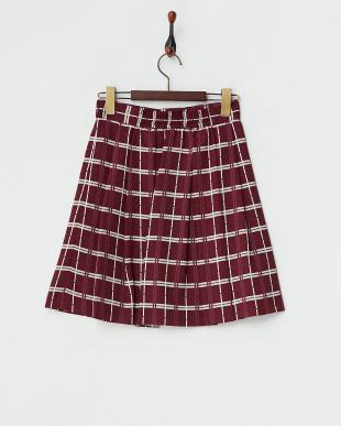 ワイン  デシンチェックプリントスカート見る