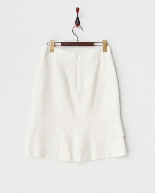 ホワイト トライスピンブッチャーマーメイド風スカート見る